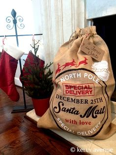 SANTA SACK BURLAP  Large Santa Sack Holiday Present by KellyAvenue