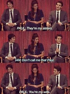 Cast of The Vampire Diaries L to R: Ian Somerhalder, Nina Dobrev, & Paul Wesley. They're at PaleyFest on 22 March 2014 held at the Dolby Theatre in Los Angeles, California, USA. Damon Salvatore Vampire Diaries, Vampire Diaries Poster, Ian Somerhalder Vampire Diaries, Vampire Diaries Wallpaper, Vampire Diaries Quotes, Vampire Diaries Cast, Vampire Diaries The Originals, Paul Wesley, Serie Vampire
