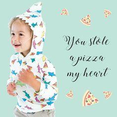Rosie Pope Baby Pizza Shark Hoodie    Shop:  http://rosiepope.com/shop/baby/boy/shark-hoodie-jogger.html?___SID=U