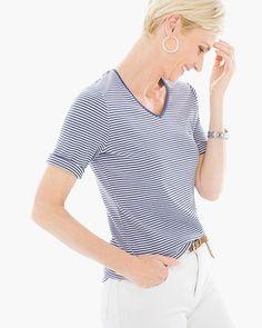b827d447aee54 Chico s Micro-Stripe Vita Tee V Neck T Shirt