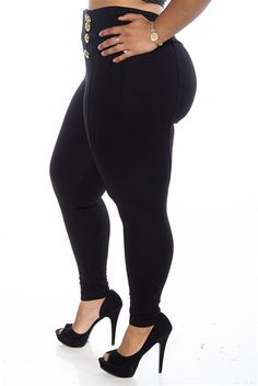 Totally Nautical 8 Button High Waist Plus Size Pants - Black from Last Exit at Lucky 21