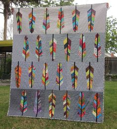 chirp: First Finish - Feathers!  Feather Bed quilt Pattern by Anna Maria Horner