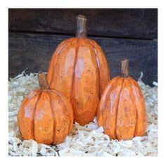 Basswood Carved Pumpkins - Set of 3