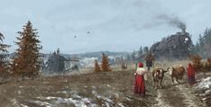 """""""Iron Harvest: 1920+"""" RTS game illustrations by Jakub Rozalski (Mr. Werewolf) """"Bizarre Paintings Of Mecha Robots And Werewolves Attacking East European Peasants Of The Early 20th Century"""" http://iron-harvest.com/ http://designyoutrust.com/2016/12/bizarre-paintings-of-mecha-robots-attacking-east-european-peasants-of-the-early-20th-century/"""