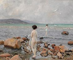 Paul Gustave Fischer - Two girls at the beach