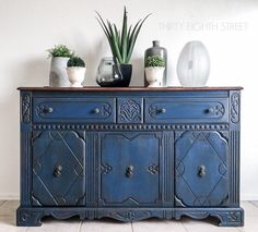 Blue painted furniture inspiration for your next DIY painted furniture project! Stunning furniture makeovers in bold blue paint colors!