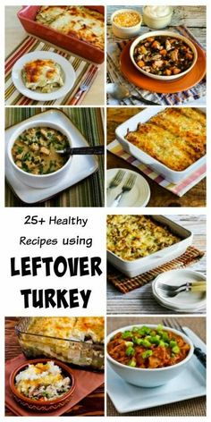 Twenty-Five Healthy Recipes Using Leftover Turkey (or these can all be made with chicken if you don't have turkey you need to use up!) Many of these favorite recipes are #LowCarb and GlutenFree, and all are delicious! [from KalynsKitchen.com]