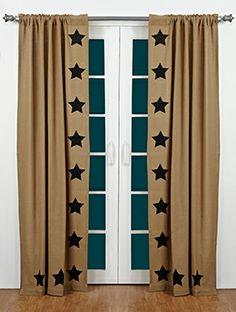 Burlap Drapes and Curtains | burlap natural stencil star panel curtains 84 share burlap natural ...