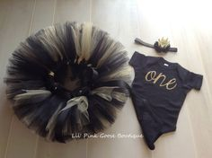 BLACK AND GOLD First Birthday Outfit Girls First by LilPinkGoose