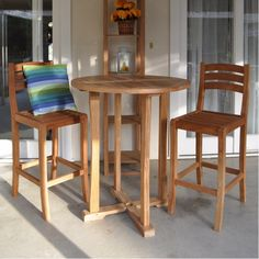 Anderson Teak Round Bar Table w/ Curved Legs and 2 Mandalay Bar Chairs - Home Bars USA - 1 Round Bar Table, Bar Table Sets, Bar Tables, Metal Chairs, Bar Chairs, Table And Chairs, Stools, Room Chairs, High Chairs
