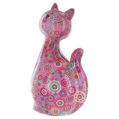 Pomme Pidou Caramel le chat Tirelire en rose avec des fleurs