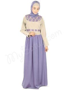 Purple Abaya with combination of warm gray | MyBatua : Saila Abaya!  Style No.: ay-324  Shopping Link: http://www.mybatua.com/saila-abaya  Available Sizes XS to 7XL (size chart: http://www.mybatua.com/size-chart/#ABAYA/JILBAB)