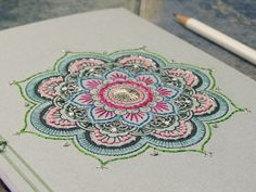 Mandala Notebook. Yoga Book. Mint Yoga Notebook. Embroidered A5 Notebook. Bohemian Journal. Mandala Journal. Colorful Boho Book. Stitch Art on Etsy, $40.00