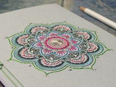 Mandala Notebook. Yoga Book. Mint Yoga Notebook. Embroidered A5 Notebook. Bohemian Journal. Mandala Journal. Colorful Boho Book. Stitch Art on Etsy, $40.00