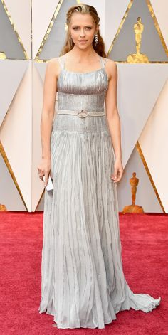 Here Are Our Top 10 Best Dressed Women at the Oscars - Teresa Palmer in Prada: This metallic embroidered dress that was fitted through the torso and fuller in the skirt made a big impression. The silver sequin accents, sporty straps, satin belt, and ornamental earrings gave this look a healthy dose of sparkle.