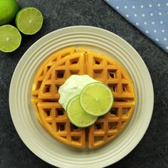 The secret ingredient to better-tasting waffles is Oikos! Use Oikos Key Lime yogurt for a delicious twist on a traditional waffle! Puff Pastry Recipes, Waffle Recipes, Low Carb Vegetarian Recipes, Cooking Recipes, Cooking Game, Delicious Breakfast Recipes, Yummy Food, Greek Yogurt, Gastronomia