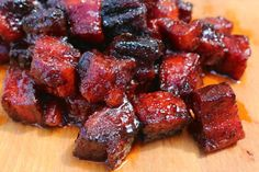 Pork Belly Burnt Ends Recipe - Pork belly smoked, then cooked with butter and brown sugar until tender. Finished with a Sweet Glaze.
