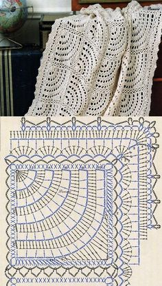 Crochet Bedspread Patterns Part 17 - Beautiful Crochet Patterns and Knitting Patterns Filet Crochet, Beau Crochet, Crochet Diagram, Crochet Chart, Crochet Home, Crochet Motif, Crochet Doilies, Crochet Baby, Patron Crochet