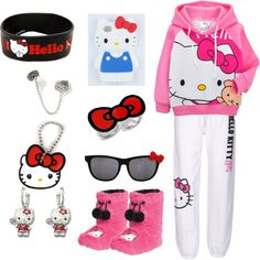 """""""Hello Kitty Gang """" by demarifoster ❤ liked on Polyvore"""