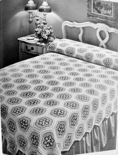 This is a listing for a vintage crochet pattern in PDF file format . Two spread sizes: 66 by inches and 89 by inches. A beautiful scattering of bouquets of dainty flowers surrounded by white lace, romantic nosegays. Crochet Patterns Filet, Crochet Bedspread Pattern, Crochet Quilt, Crochet Home, Easy Granny Square, Vintage Crochet Patterns, Manta Crochet, Beautiful Crochet, Bed Spreads