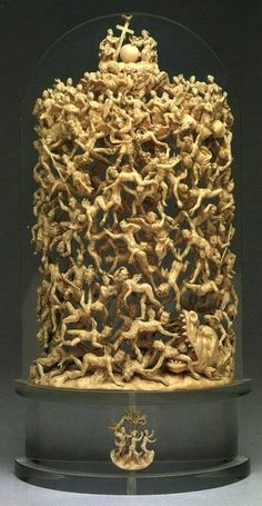 fall of the rebel angels, napoli, 18 th cent. carved ivory.