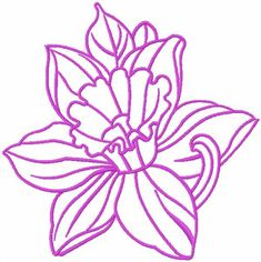 Pink contour lily free embroidery design. Machine embroidery design. www.embroideres.com
