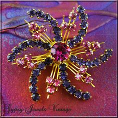 Dazzling Vintage Rhinestone Pink and Purple Pinwheel Brooch/Pin