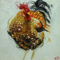Rooster 746 12x12 inch animal portrait original oil por RozArt