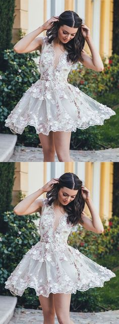 beautiful v-neck flower appliques white short homecoming dress Homecoming Dresses White, Homecoming Dresses Short, Beautiful Homecoming Dresses, Homecoming Dress, V-neck Homecoming Dresses Homecoming Dresses 2019 Unique Homecoming Dresses, White Homecoming Dresses, Prom Dresses For Teens, A Line Prom Dresses, Dance Dresses, School Dresses, Unique Dresses Short, Graduation Dresses, Short White Dresses