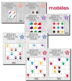 Voici un nouveau jeu de topologie sur quadrillage, chaque chose à sa place.   Les enfants possèdent un modèle et doivent replacer les bouch...