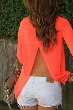 Open rug shirt Oranje