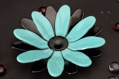 Turquoise Blue and Black Flower Dish fused glass 525 by Artdefleur, $21.00