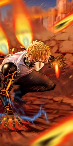 Blonde, Genos, One-Punch man, wallpaper Saitama One Punch Man, Anime One Punch Man, Genos Wallpaper, Man Wallpaper, One Punch Man Poster, Genos X Saitama, Caped Baldy, Japanese Animated Movies, Dungeons And Dragons Homebrew
