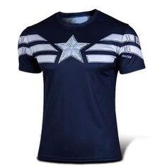 $11.21 Fashion Round Neck Slimming Color Block Captain America Design Short Sleeve Polyester T-Shirt For Men