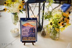 Outdoor theme used as table decor on a wedding reception with National Park names. Kent Island Maryland Chesapeake Bay Beach Club wedding photo, by wedding photographers of Leo Dj Photography. http://leodjphoto.com