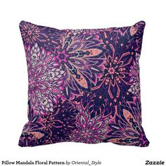 Beautiful pillow with colorful mandala pattern for home decor. Unique accessories for your bedroom. Elegant indian design.