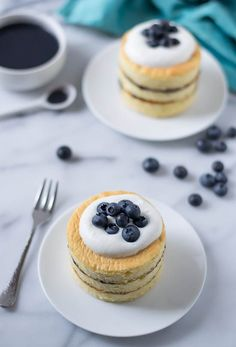 Buttermilk Chiffon Cakes with Blueberry Curd and Buttermilk Whipped Cream