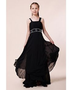 Black A-line Square Floor-length Chiffon Long Junior Bridesmaid Dress | LynnBridal.com