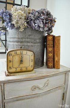 French Country Cottage Side Table Makeover....Love the clock. How do find vintage clocks that still work????
