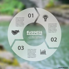 Vektor: Vector circle arrows linear infographic. Template for cycle diagram, graph, presentation, round chart. Business concept with 3 options, parts, steps, processes. Blurred background.