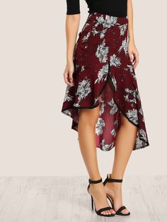To find out about the Contrast Binding Asymmetric Ruffle Hem Skirt at SHEIN, part of our latest Skirts ready to shop online today! Belted Shirt Dress, Tweed Dress, Roxy, Zara, Glitter Dress, Lauren, Elegant Dresses, Boho Dress, Dress Patterns