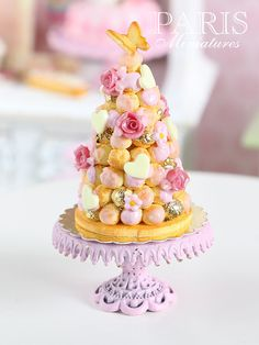 Pink Croquembouche - French Wedding Cake - (Made to order) Miniature Food in 12th Scale (Pink Collection 2014)