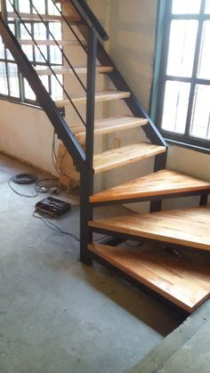 home stairs design ideas can attract the eyes. Choose between an art gallery, unique runner, and vintage design for your stairs. Rustic Stairs, Industrial Stairs, Modern Stairs, Steel Stairs, Wood Stairs, House Stairs, Home Stairs Design, Interior Stairs, House Design