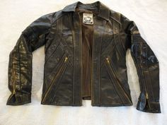 Mens Vintage 1960's East West Musical Instruments Handmade Leather Jacket (S) 40