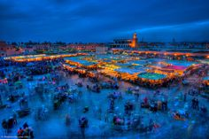 DJemma El-Fna square in the heart of the Medina, Marrakech - Morocco. Best mint tea and spiced lamb dishes.