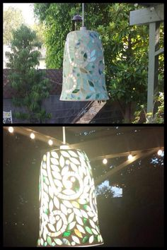 One of our Host turned the Vine Mosaic Lantern into a hanging light fixture in her backyard. #PartyLite