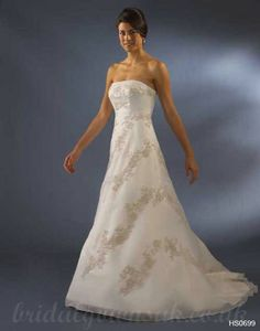 A Line Strapless Chapel Train Handmade Amazing Embroidery Wedding Dress