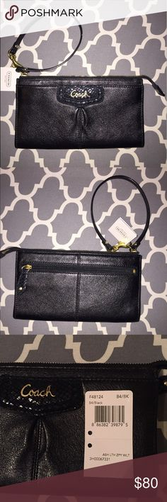 NWT Coach Ashley leather zippy wallet/wristlet NWT authentic black Coach Ashley leather zippy wallet/wristlet. I purchased this brand new from coach store but never used & has been stored in my closet. No longer have box it came in. Pristine unused condition. Originally cost me $158. Outside material is leather w/ black nylon lining. Pockets: 6 credit card slots, 3 bill slots & q back zipper pocket. Gold zipper closure. Measures 7.75x4.25x.75. gold coach name on sequin front. Open to…