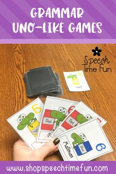 Grammar Uno-Like Games - work on regular and irregular plural nouns, regular and irregular past tense verbs in speech therapy