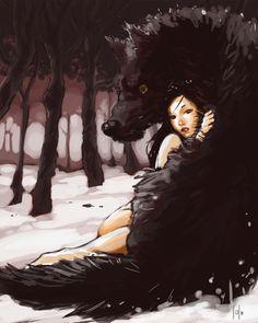 Wolf girl by LolosArt.deviantart.com on @deviantART
